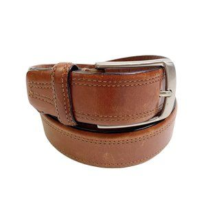 Fossil Leather Belt Silver Hardware Medium Brown